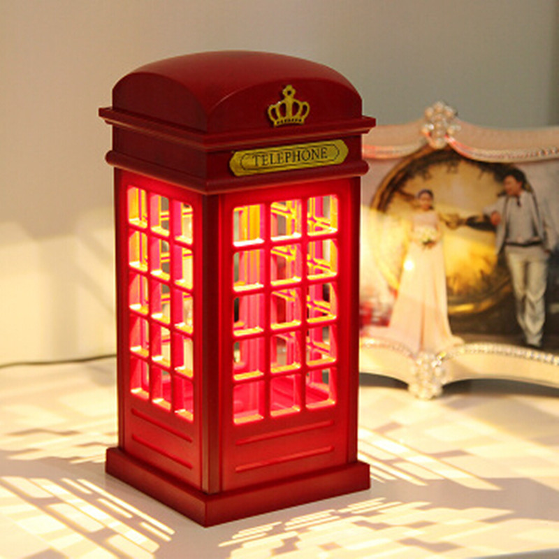 product Free Shipping 1pcs Retro London Telephone Booth Night Light USB Battery Dual-Use LED Bedside Table Lamp luminarias WJD15070