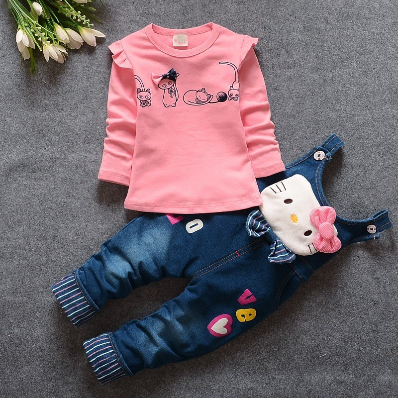 fashion spring autumn new baby girls clothing set kids girls T-shirt +overalls 2 pcs clothes childern set baby Tracksuit set(China (Mainland))