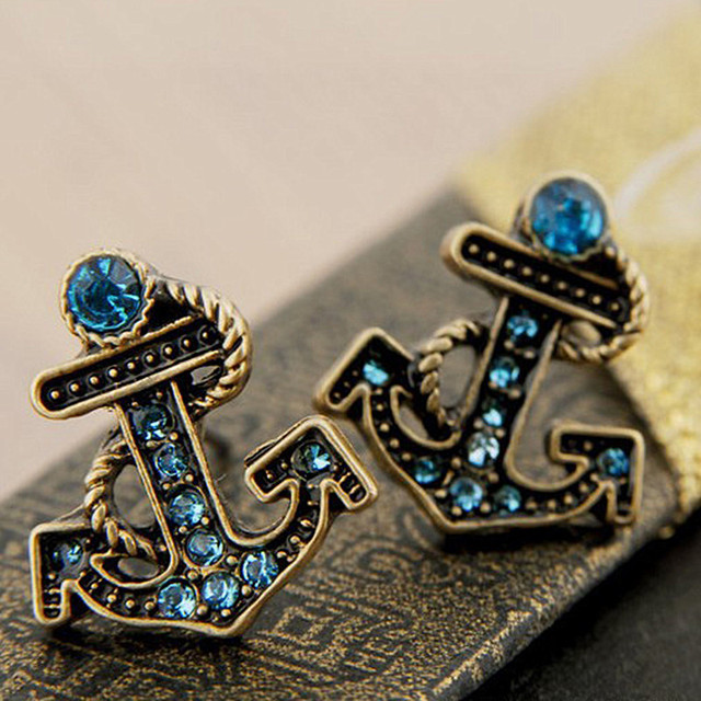 ES184  Women Stud Earrings Fashion Jewelry Blue Anchor Earrings Sailor Beach Jewelry Brincos Accessories AAA
