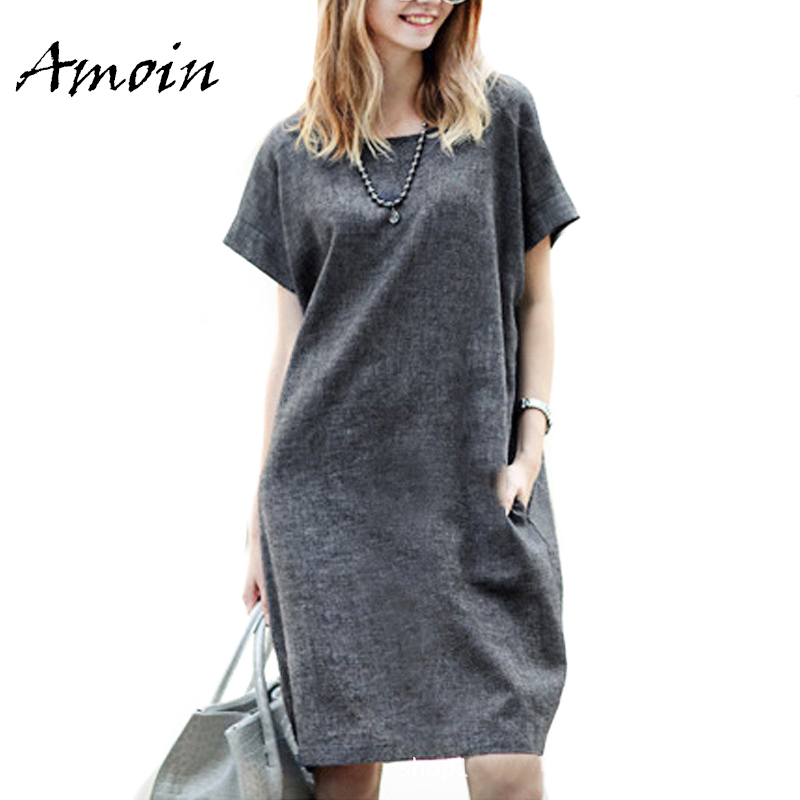 Amoin Plus Size 5XL Women Gray Short Sleeve Dress With Pockets Fashion Summer Cotton and Linen Loose Casual Knee Length Dress(China (Mainland))