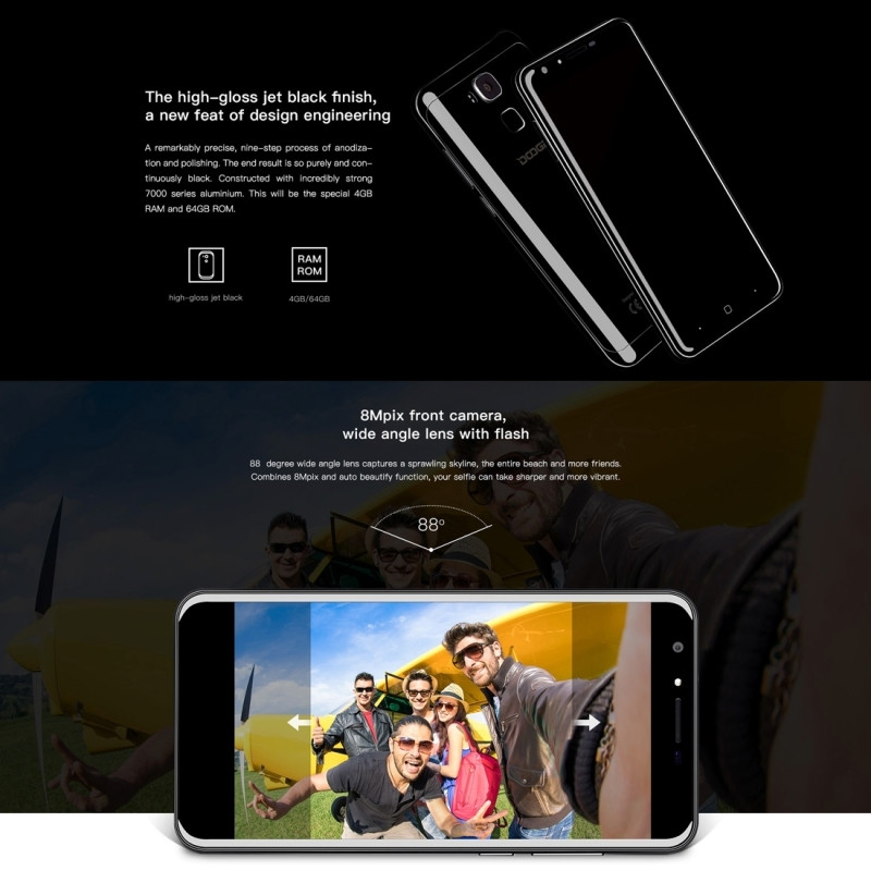 Original Doogee Y6 4G LTE Mobile Phone 2GB RAM 16GB ROM MTK6750 Octa Core 5.5″ Camera 16.0MP Android 6.0 Smartphone Fingerprint