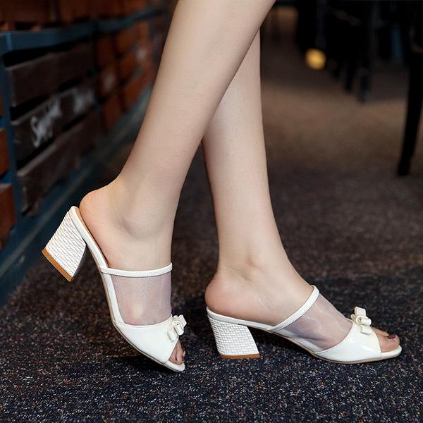 2015 new summer leisure casual  thick heels flip flopsl fish head gauze solid  women sandal breathable comfort women sandalsE212<br><br>Aliexpress