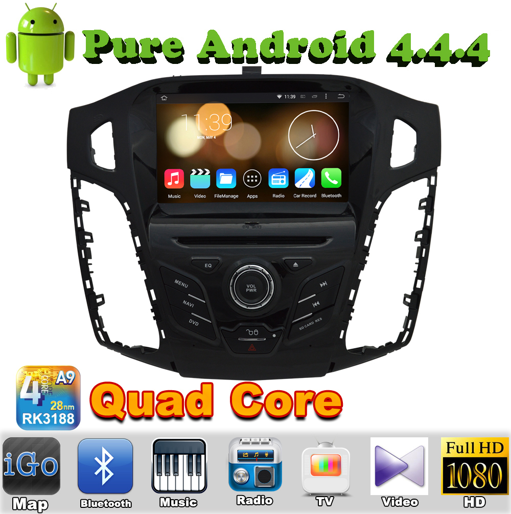 1 din android 4.4 quad core car audio dvd automotivo for Ford Focus 3 2011 2012 2013 2014 2015 c-max 2011 with gps autoradio tv(China (Mainland))