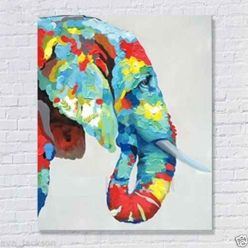 100%Handmade Decor Works High Quality Abstract Animal Modern Wall Art Elephant Oil Painting On Canvas For Wall Decor Artworks(China (Mainland))