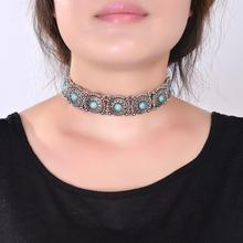 2016 Hot Boho Collar Choker Silver Necklace statement jewelry for womenFashion Vintage Ethnic style Bohemia Turquoise Beads neck(China (Mainland))