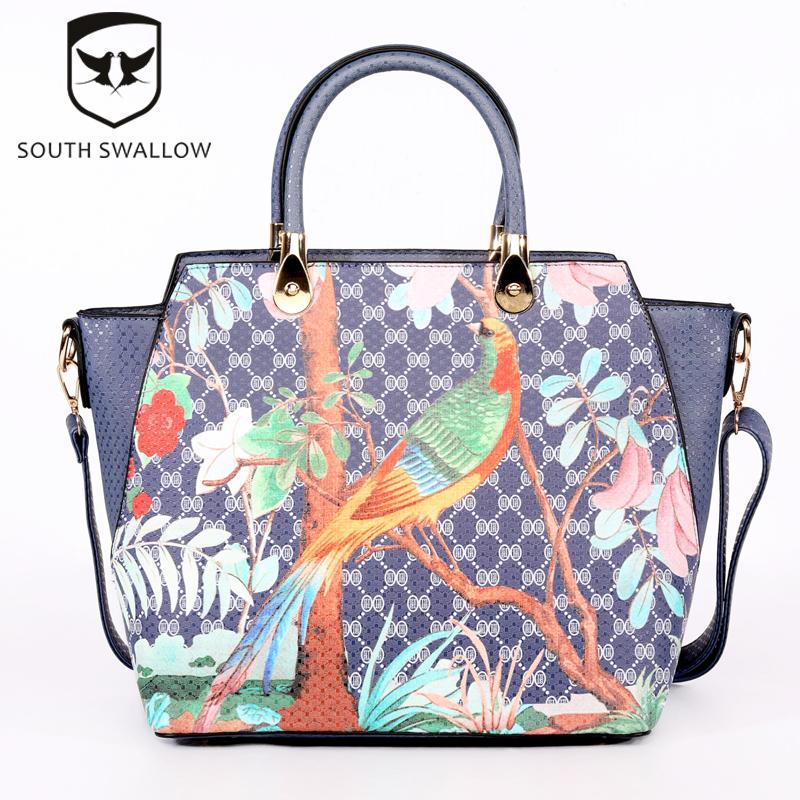 2016 Hot Fashion South Swallow Women's PU Leather Bird Print Shoulder Handbags Casual Beautiful Messenger Cross Bag PUA501-1(China (Mainland))