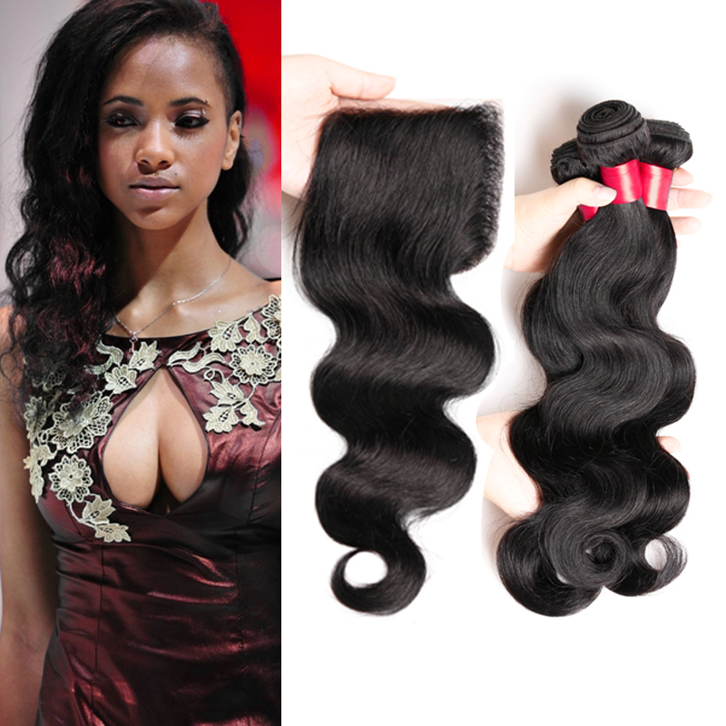 Malaysian Body Wave With Closure Unprocessed  Cheap Remy Human Hair Weave Juliet Virgin Hair With Lace Closure Tissage  4 Pieces<br><br>Aliexpress