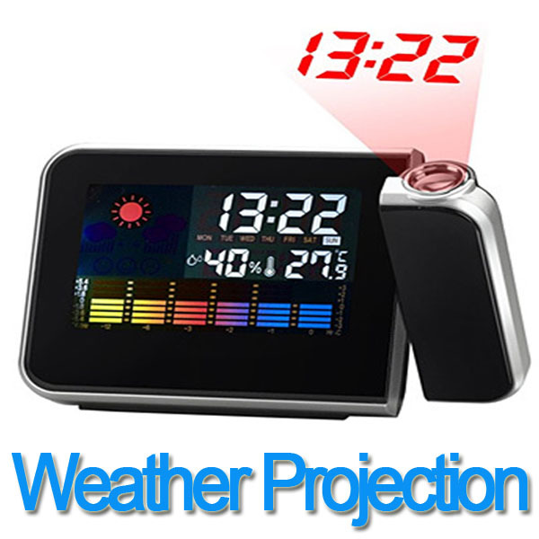 Free Shipping NEW Digital Weather Projection Snooze Alarm Clock Color Display LED Backlight Mini Desktop Multi-function Clock(China (Mainland))