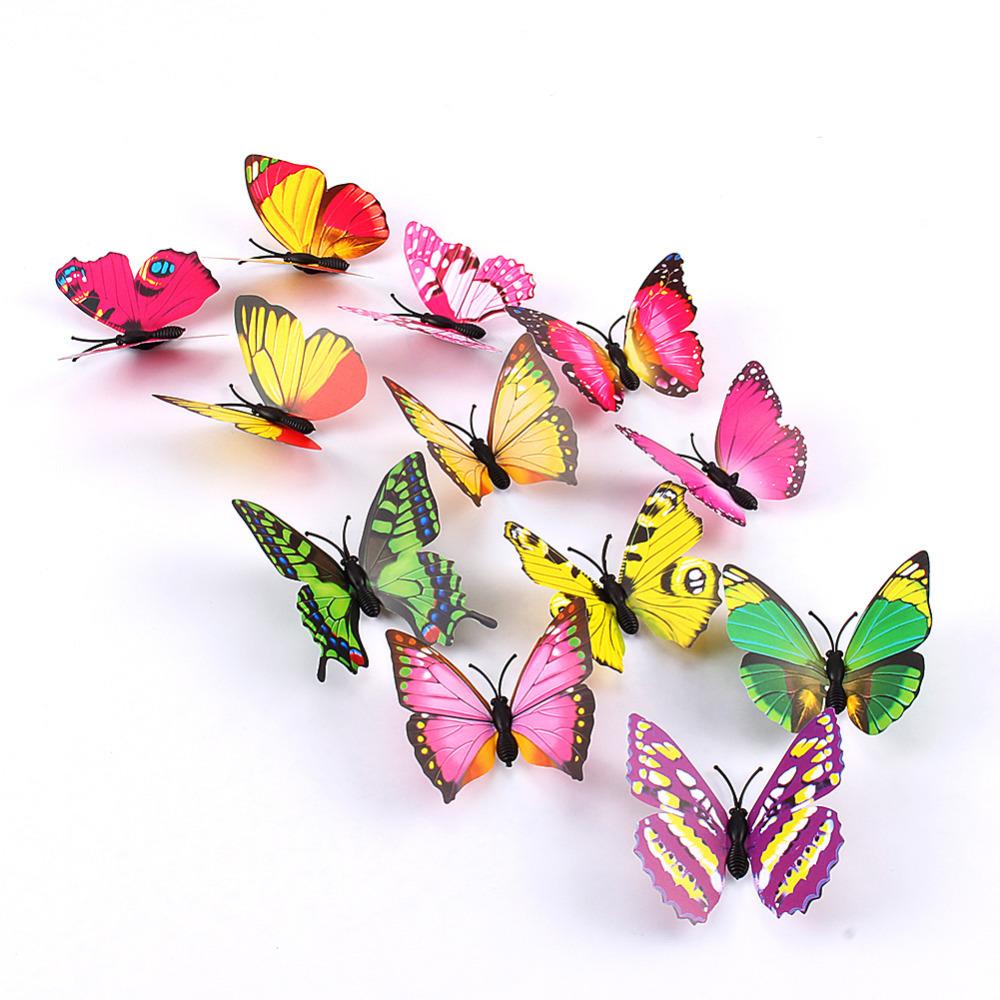 12pcs/lot 3D Butterflies Wall Sticker Refrigerator Magnet Butterfly Wall Stickers Christmas Home Wall Sticker Decoration(China (Mainland))