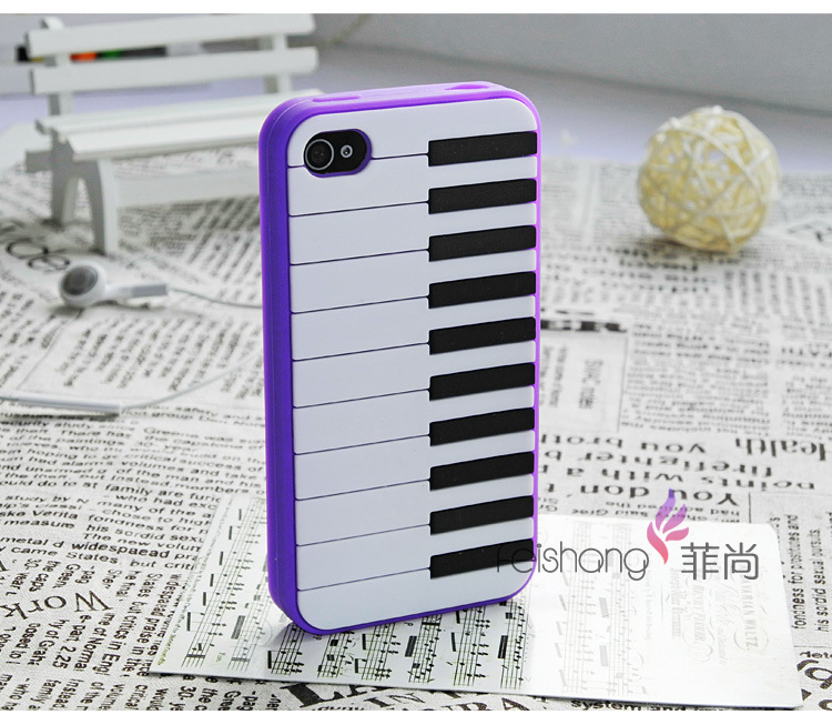 Piano Keys Silicon Back Cover Case For iPhone 4/4s free shipping 20pcs/lot