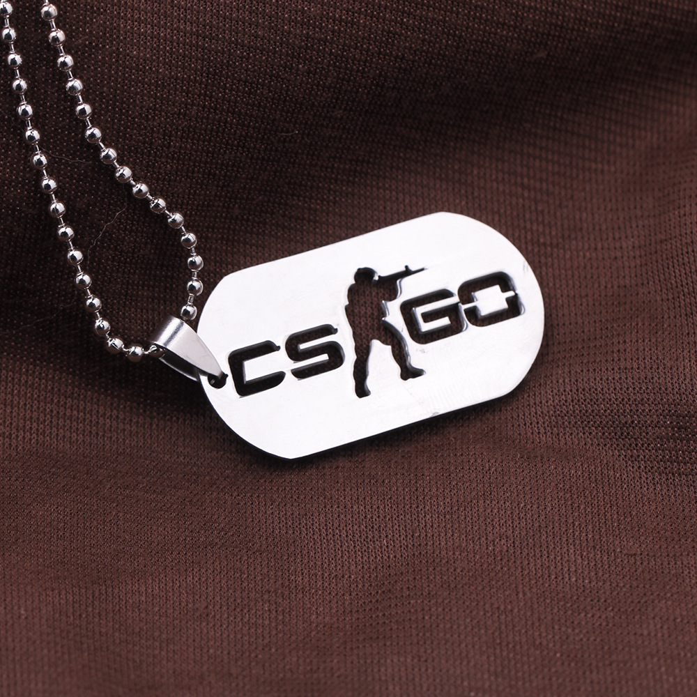 Games CS GO Stainless Steel Link Necklace For Men CSGO Anime <font><b>Neckless</b></font> Male Collier Homme Best Friends Statement Bijoux Jewelry