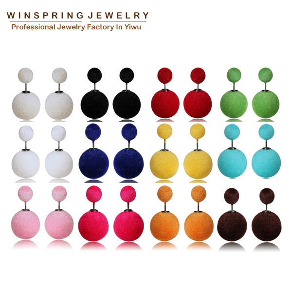 Cheap Korea 12Colors Flock Pearl Earrings Ball Christmas Winter Earrings Girls Gift Plush Ball Double Earrings(China (Mainland))