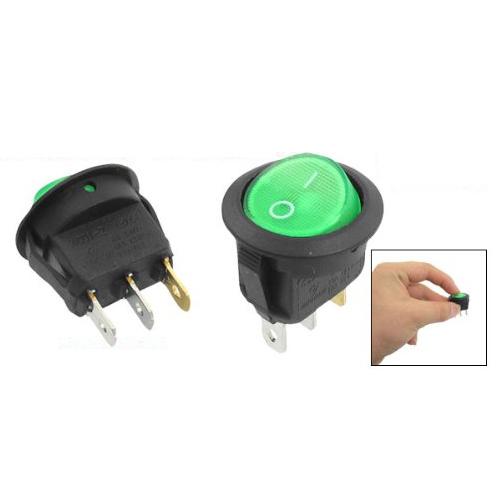 MYLB-5 Pcs 3 Pin SPST Green Neon Light On/Off Round Rocker Switch AC 6A/250V 10A/125V