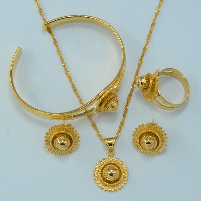 22 К позолоченные эфиопские комплект ювелирных изделий невесты свадьба ожерелье браслет ...