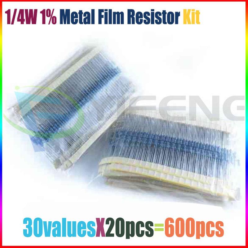 Free Shipping 600 Pcs 1 4W 1 30 Kinds Each Value Metal Film Resistor Assortment Kit