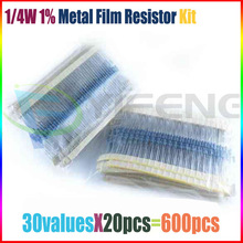 Free Shipping 30 Kind 1/4W Resistance 1% Metal Film Resistor Assorted Kit Each 20 Total 600pcs[23433]