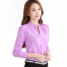 Buy Chiffon blouses New 2017 Spring Women shirt Fashion Casual Long-sleeved chiffon shirt Elegant Slim Solid color plus size blusas for $8.25 in AliExpress store