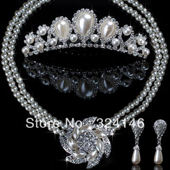 Hot sale pearl  bridal jewelry sets clear crystal jewelry wedding set accessory