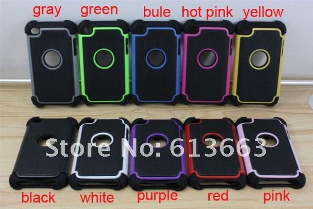 Free shipping ,10pcs/lot New Heavy Duty Combo basketball lines Hard Silicone + PC back cover shell case for ipod touch 4