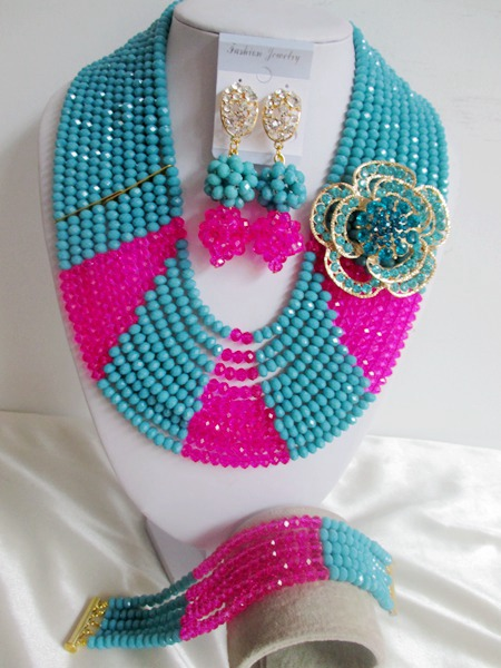 Nigerian Wedding African Beads Jewelry Set Women Necklace Crystal Teal Blue Fuchsia Pink Costume Jewelry Set ABE1193<br><br>Aliexpress