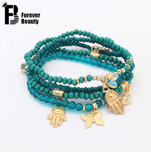 2016 Lucky Kabbalah Fatima Hamsa Hand Blue Evil Eye Charms Bracelets & Bangles Multilayer Beads Turkish Pulseras For Women(China (Mainland))