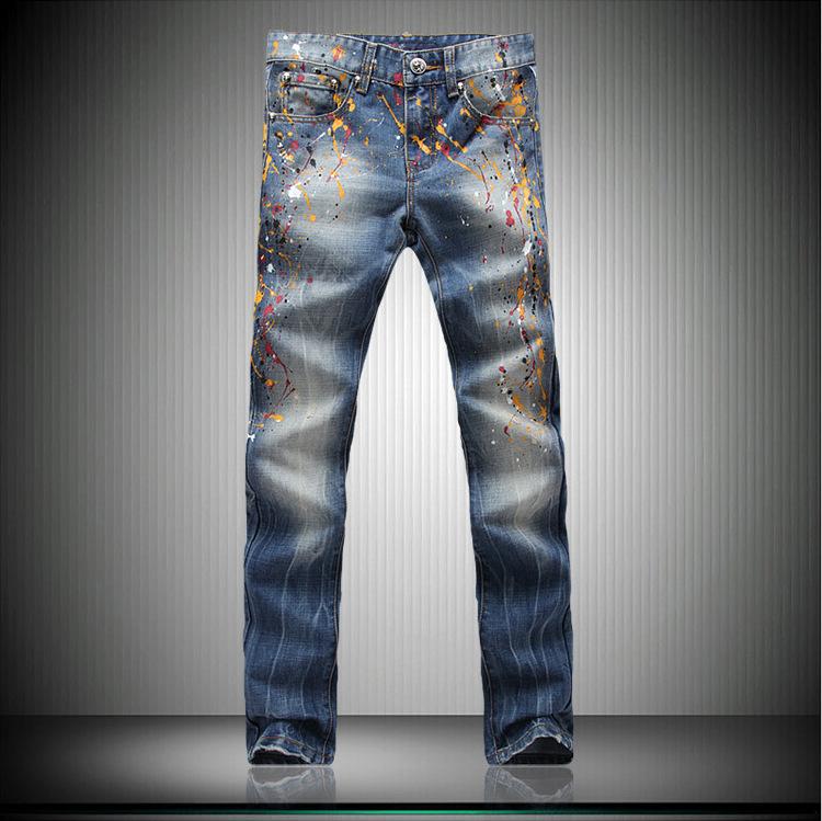 Скидки на MOGE мужчины печати slim fit джинсы мода хип-хоп джинсы pantacourt homme pantalones tobillo мужчины ночной клуб