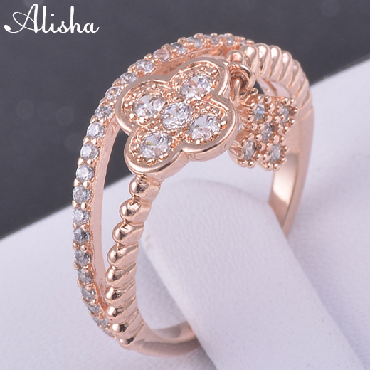 Brand Unique Three Stackable Rings 18K Rose Gold Plated Heart Clover Ring With AAA Swiss Zircon Elements Austrian Crystal(China (Mainland))