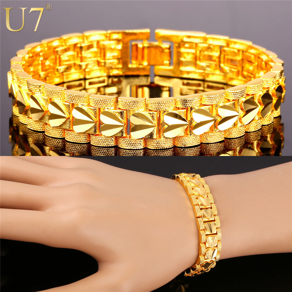 U7 Gold Bracelet Men Jewelry 18k Gold /Platinum Plated 21cm 12MM Chunky Chain Link Love Heart Bracelet Men Valentines Gift H778(China (Mainland))