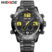 WEIDE Luxury Brand Black Stainless Steel Men Watch High Quality Fashion Back Light Water Resistant Sport Army Military Gift