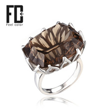 HUGE Gem Stone 23ct Natural Smoky Quartz Cocktail Ring Women Concave Pure Solid Genuine 925 Sterling Silver Fine Jewelry Brand(China (Mainland))