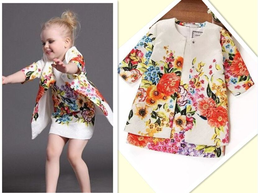 Top Dress+Jacket Flower Print Dress Set 2015 New Models Brands Children Dress Girls Spell color High-end Quality Meninas Dress(China (Mainland))