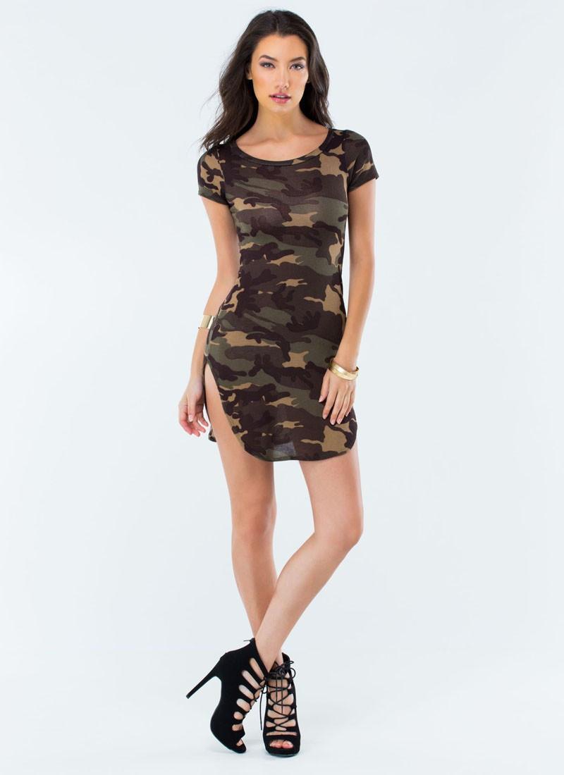 Military Style Women Summer Sexy T Shirt Mini Dress Ladies