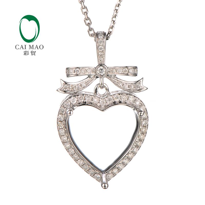 CaiMao 13x13mm Heart Cut Semi Mount Pendant Settings &0.38 ct Diamond 14k White Gold Engagement Fine Jewelry(China (Mainland))