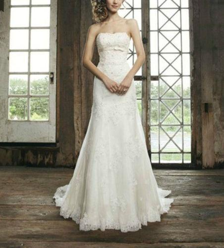 White A Line Wedding Dresses : White a line strapless neck covered button wedding