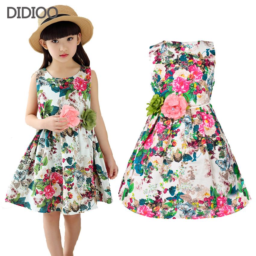 Kids Clothing Summer Dresses For Girls Summer Style Girl Dress Floral Print Cotton Birthday