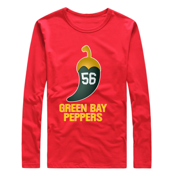 Hot sell autumn 2016 green bay Julius peppers 56 T-shirt long sleeve green shirt Cool Printed LS for fans(China (Mainland))