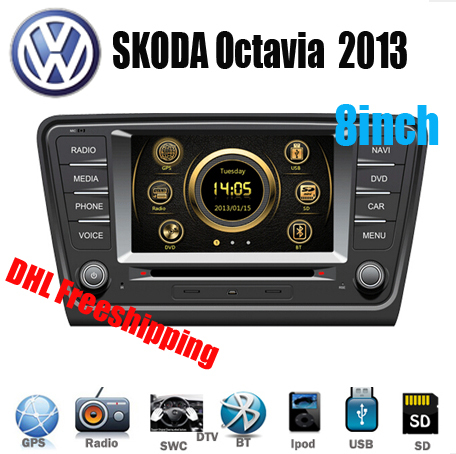 "New 8"" 2Din Indash Car DVD Player Multimedia System GPS Stereo For SKODA Octavia 2013 2014 with BT IPOD WIFI DVBT TV 3G for VW(China (Mainland))"