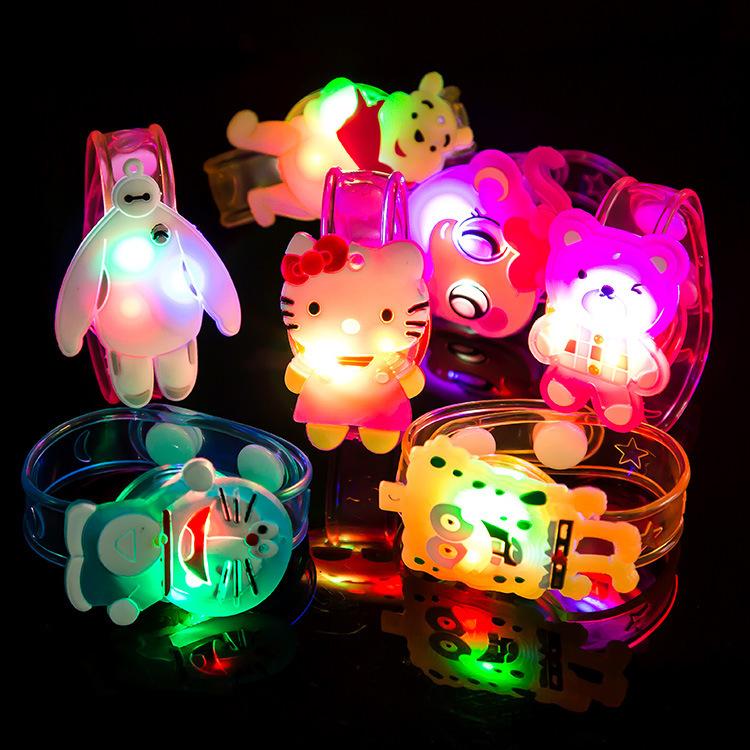 Cartoon Light Up Toys Colorful Luminous Hand Ring Cartoon Flashing Strap LED Wristband Bracelets Led Toys Novelty Christmas Gift(China (Mainland))