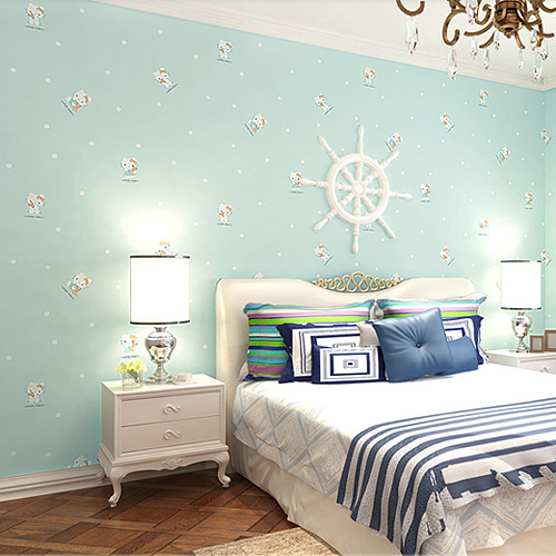room blue woven wallpaper boys and girls bedroom wallpaper backdrop