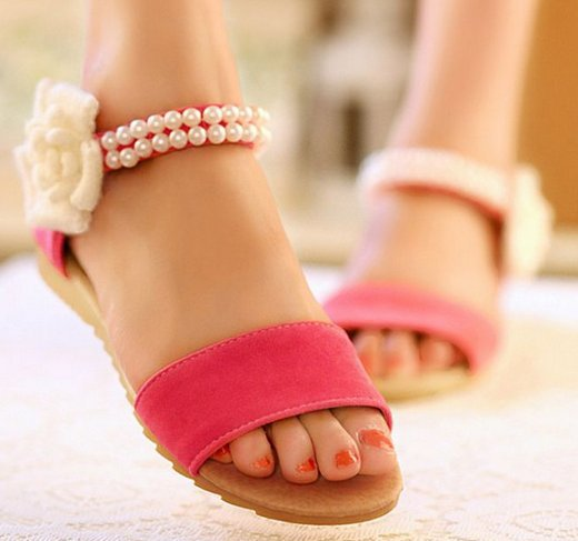 Big size 34-43 Fashion Blower Beaded Summer Shoes Mary Jane Ankle Straps Covered Heels Open Toe Platform Women Sandals(China (Mainland))