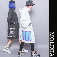 Fashion 2016 applique letter button plus size with a long trench hood design outerwear