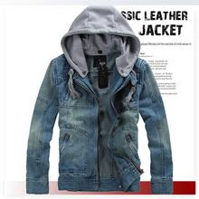 Plus size XXXL 2014 new fashion men's denim jacket casual hooded jeans jacket outdoors JA50028(China (Mainland))