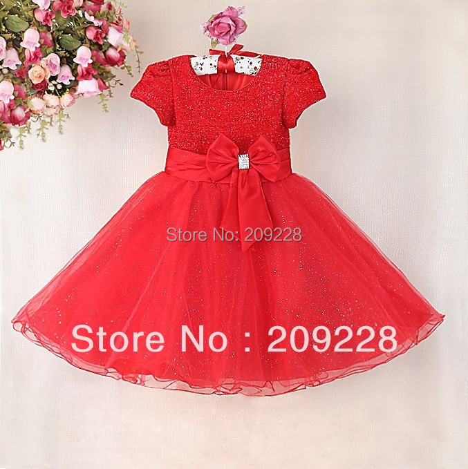 Retail New Year Baby Girl Party Dress Hot red Children Princess Dress ,Kids holiday dresses for girls,girl red Christmas dress(China (Mainland))