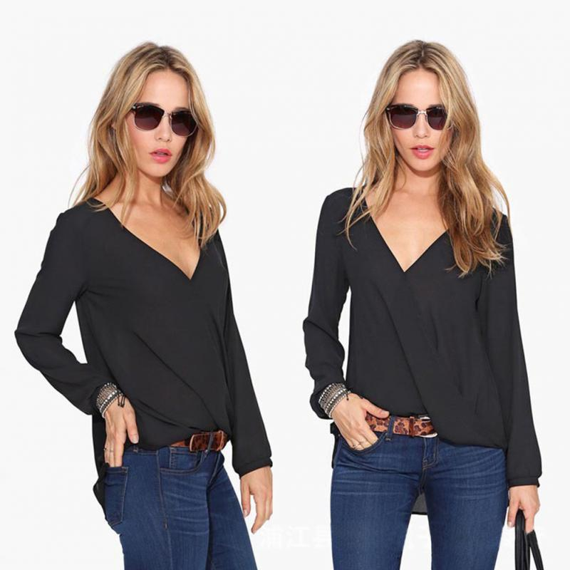 New Fashion Womens Tops 2016 Women Long sleeve V-neck chiffon blouse for spring autumn summer(China (Mainland))