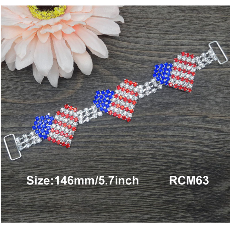 20pcs 5.7inch July 4th red/white/blue heart rhinestone connector Bikini Connectors Crystal connectors RCM63(China (Mainland))