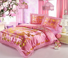 Advanced Silks and Satins Chinese Style Phoenix Double Happiness Reactive Printing Embroidery Wedding Four-piece Kit Bedding Set(China (Mainland))