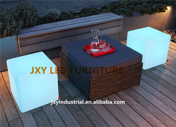 30cm rgb rechargeable led cube chair stool light lamp pe material plastic furniture remote cube. Black Bedroom Furniture Sets. Home Design Ideas