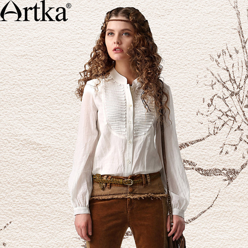 Artka Women's Chivalrous Vintage Loose All-match Stand Collar Long Puff Sleeve Single Breasted Cotton Linen Shirt SA11242C(China (Mainland))