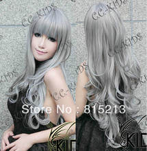 dd00147 wave cosplay wigs Fashion Long Curly Cosplay Silver gray Party Wig cap