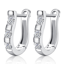 2015 pendientes Luxury 925-sterling-silver Earrings Flash CZ Diamond Harp Studs Horse Shoe Earrings Women brincos E170